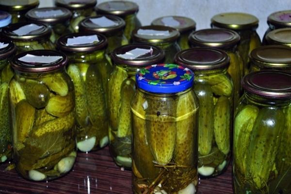 Огурцы с дубовыми листьями в литровых банках