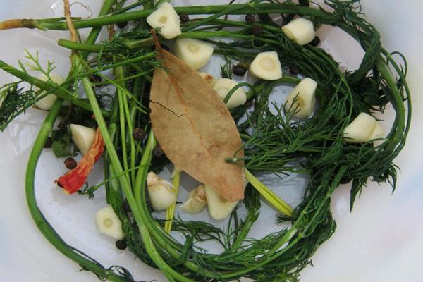 чеснок и зелень для огурчиков