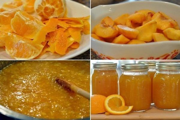 процесс приготовления джема с персиком и апельсином