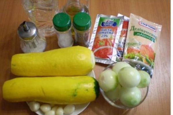 необходимые ингредиенты для кабачков с майонезом