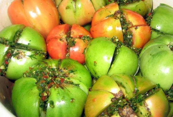 фаршированные зеленые помидоры