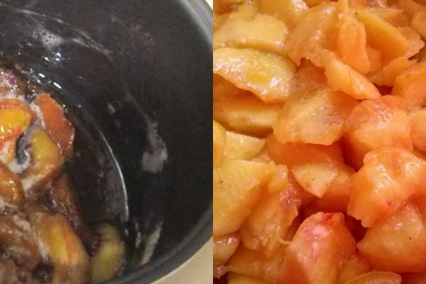 процесс приготовления варенья из персиков в мультиварке