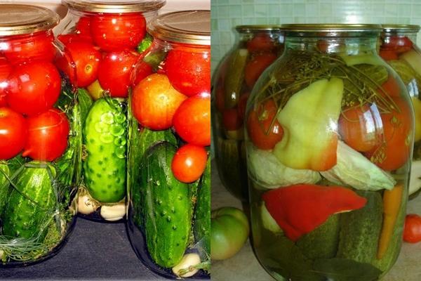 огурцы с помидорами и перцем