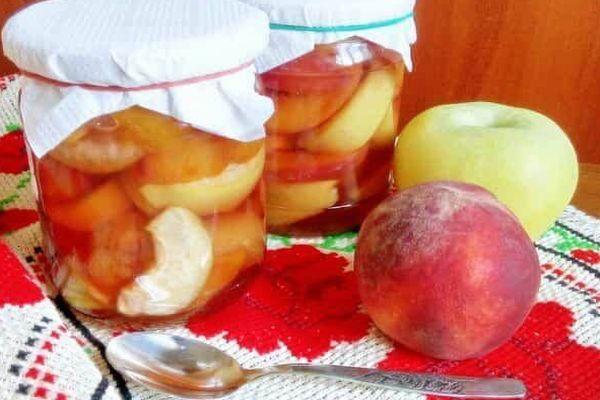 яблоко и персики