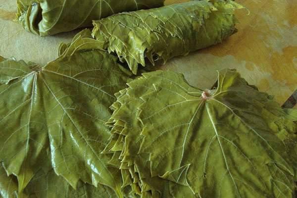Виноградные листья на столе