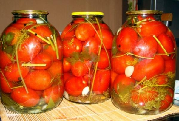 помидоры с малиновыми листьями в банках