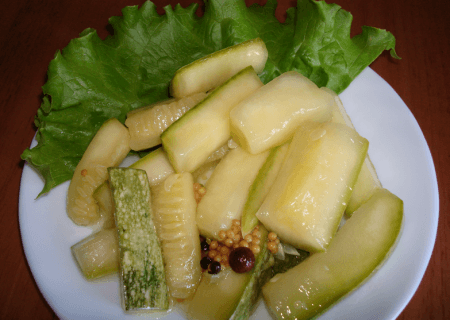 кабачки в горчичной заливке