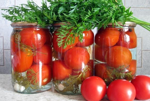помидоры с морковной ботвой и укропом