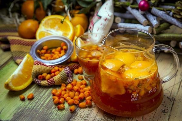 облепиховый компот с апельсинами