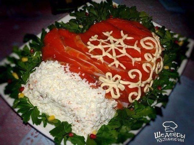 Рецепт вкусного салата «Варежка Деда Мороза»