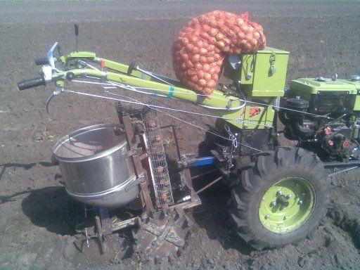 Картофелесажалка на огороде
