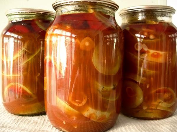 маринованные кабачки с томатной пастой