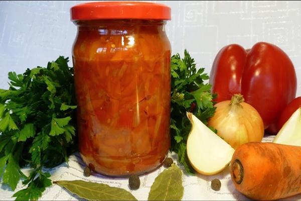 Готовим закуску из помидоров и болгарского перца с морковью