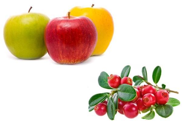 яблоки с брусникой