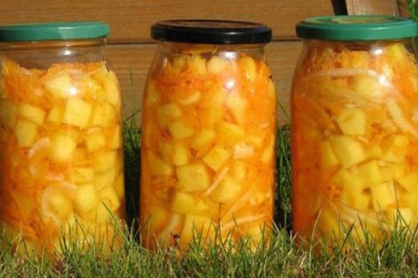 Консервированные кабачки с морковью и чесноком