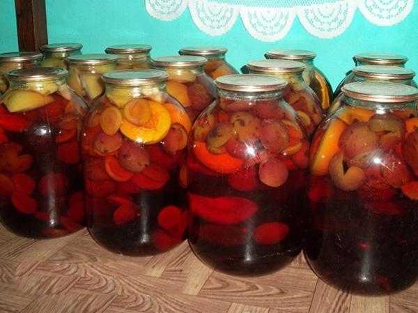 компот ассорти из фруктов на зиму