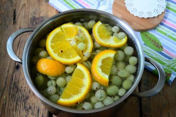 компот из крыжовника с апельсином и мятой