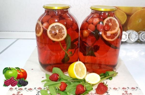 Рецепт из клубники, лимона и мяты