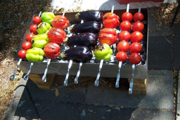 запекание овощей на костре